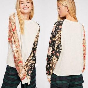 Free People NWT Vintage Affair Tan Print Pullover